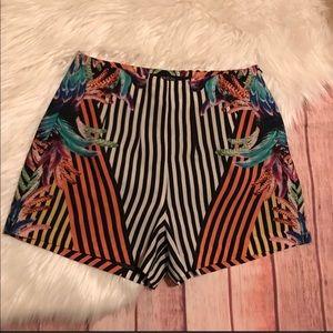 Hi-waisted Silk Side Zip Shorts